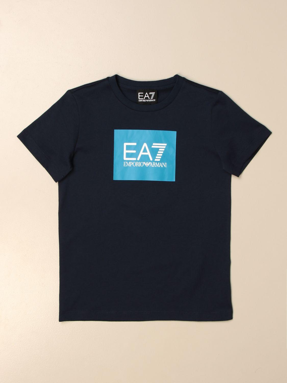 T-shirt Ea7: EA7 cotton T-shirt with logo print blue 1