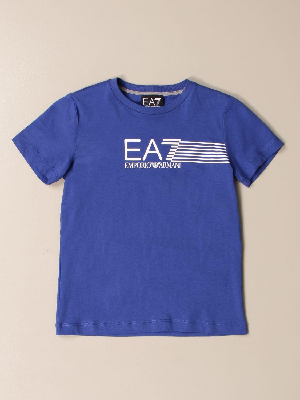 T-shirt Ea7: EA7 cotton T-shirt with logo print royal blue 1