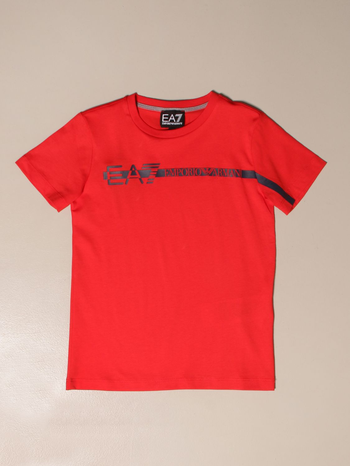 T-shirt Ea7: EA7 cotton T-shirt with logo print red 1