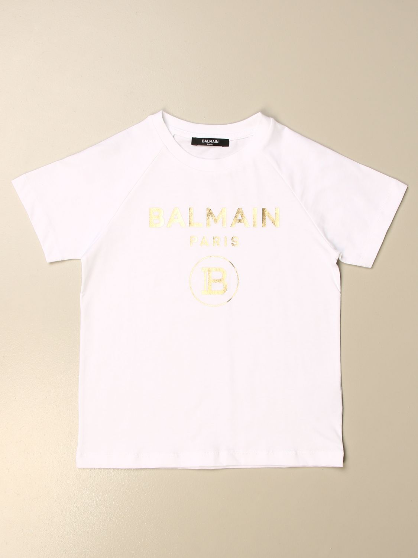 T-shirt Balmain: T-shirt Balmain in cotone con logo metallizzato bianco 1 1