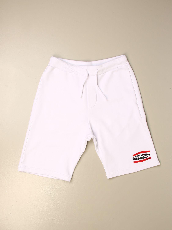 Pantaloncino Dsquared2 Junior: Pantaloncino jogging Dsquared2 Junior con logo bianco 1