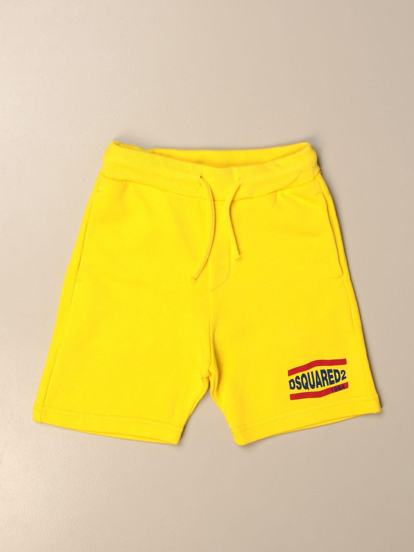 Pantaloncino Dsquared2 Junior: Pantaloncino jogging Dsquared2 Junior con logo giallo 1
