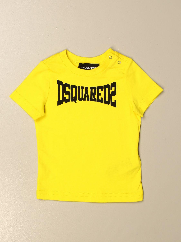 T-shirt Dsquared2 Junior: T-shirt Dsquared2 Junior in cotone con logo giallo 1