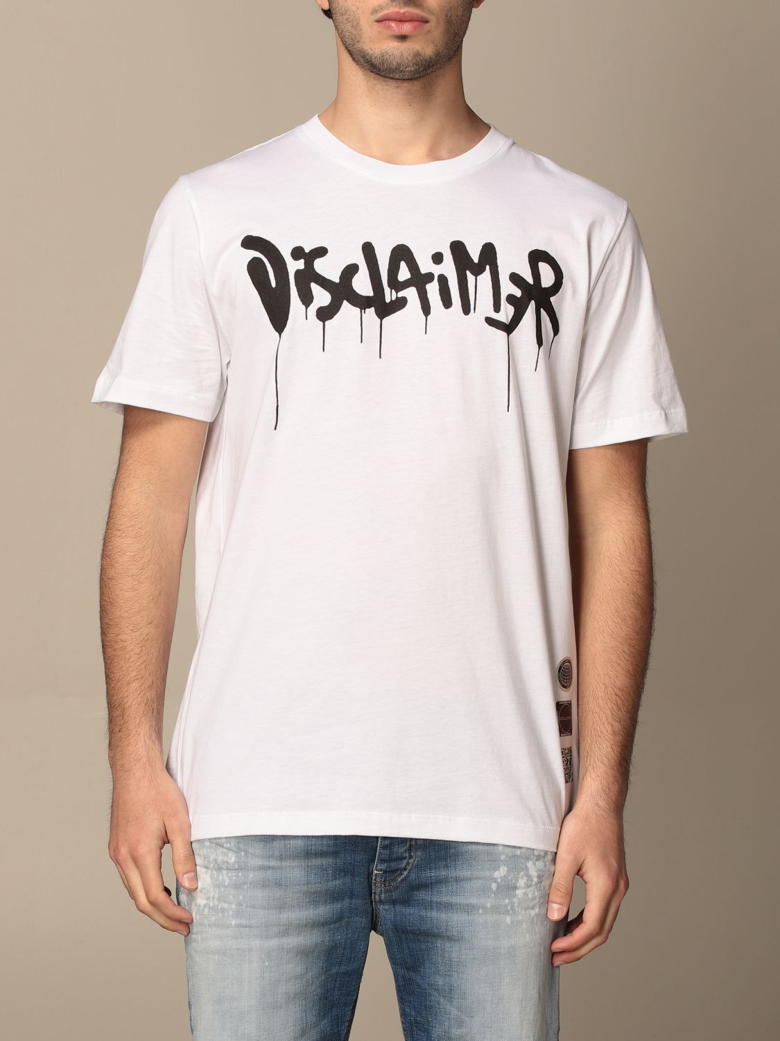 T-shirt Disclaimer: Dislaimer t-shirt in cotton with print white 1