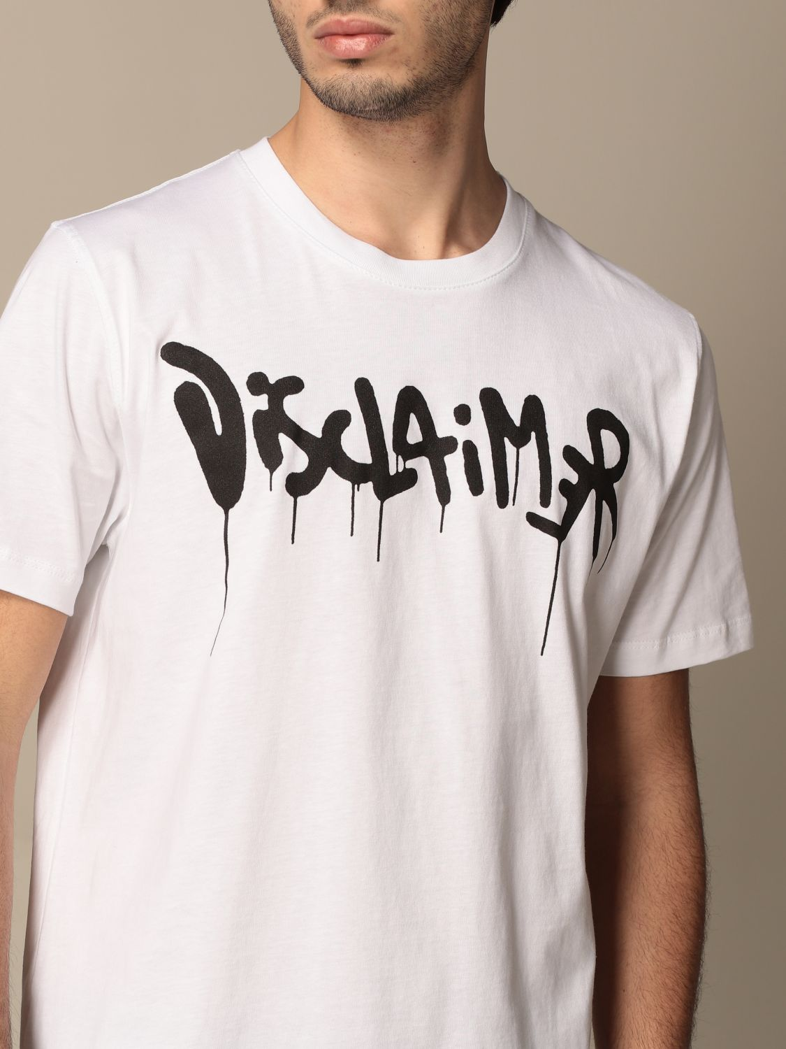 T-shirt Disclaimer: Dislaimer t-shirt in cotton with print white 3