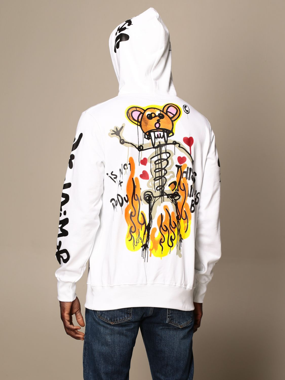 Sweatshirt Disclaimer: Dislaimer hoodie in cotton with print white 2