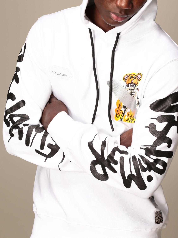 Sweatshirt Disclaimer: Dislaimer hoodie in cotton with print white 3