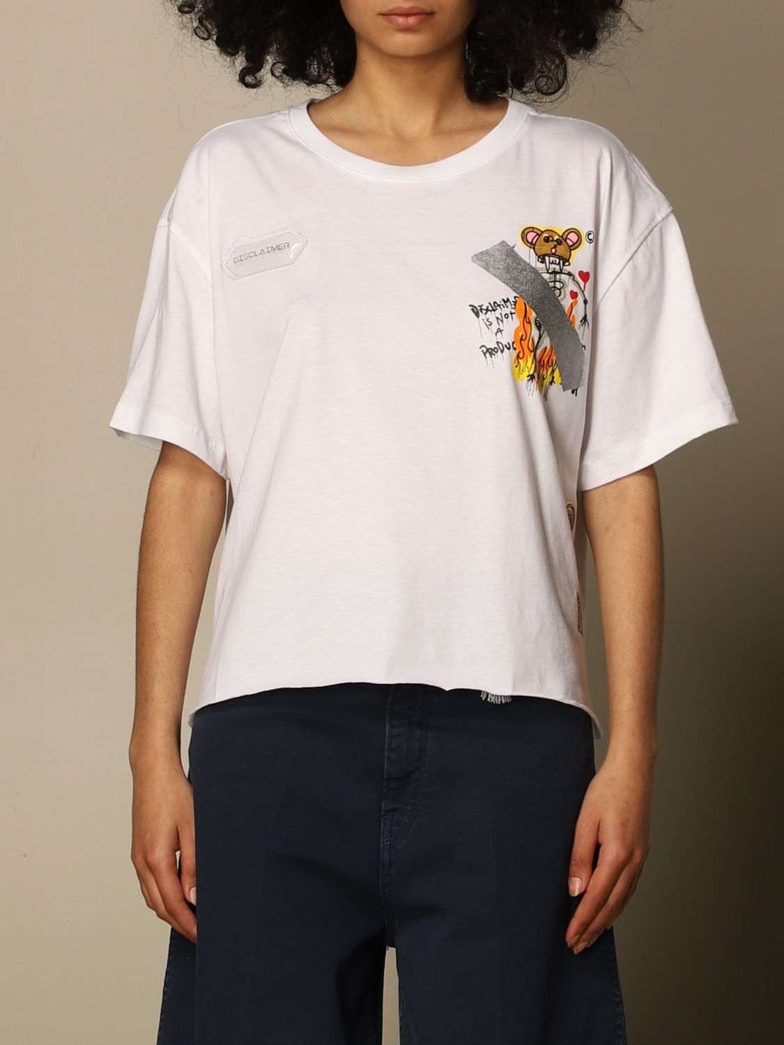 T-Shirt Disclaimer: Disclaimer cropped t-shirt with prints white 1