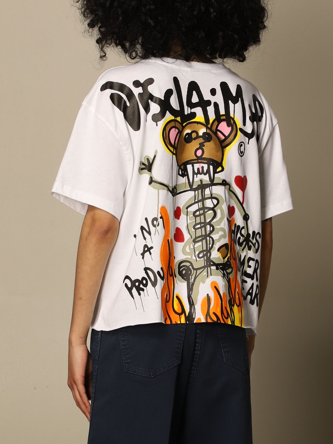 T-Shirt Disclaimer: Disclaimer cropped t-shirt with prints white 2