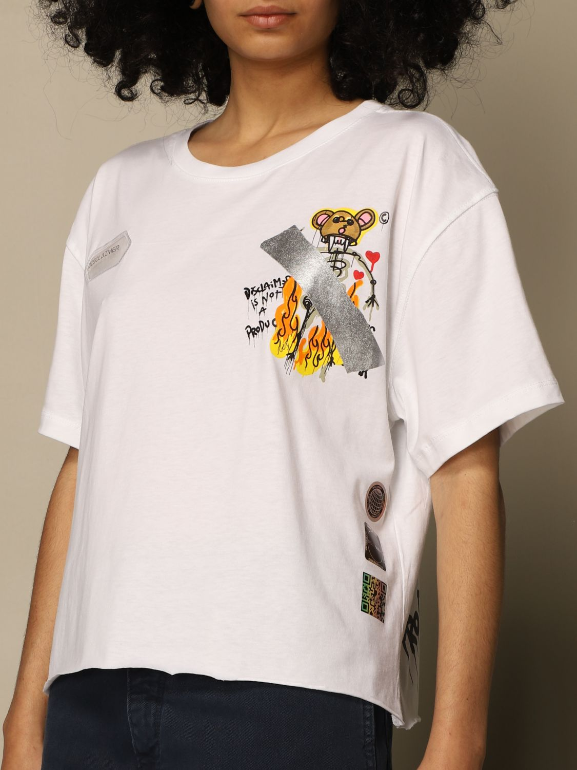T-Shirt Disclaimer: Disclaimer cropped t-shirt with prints white 3