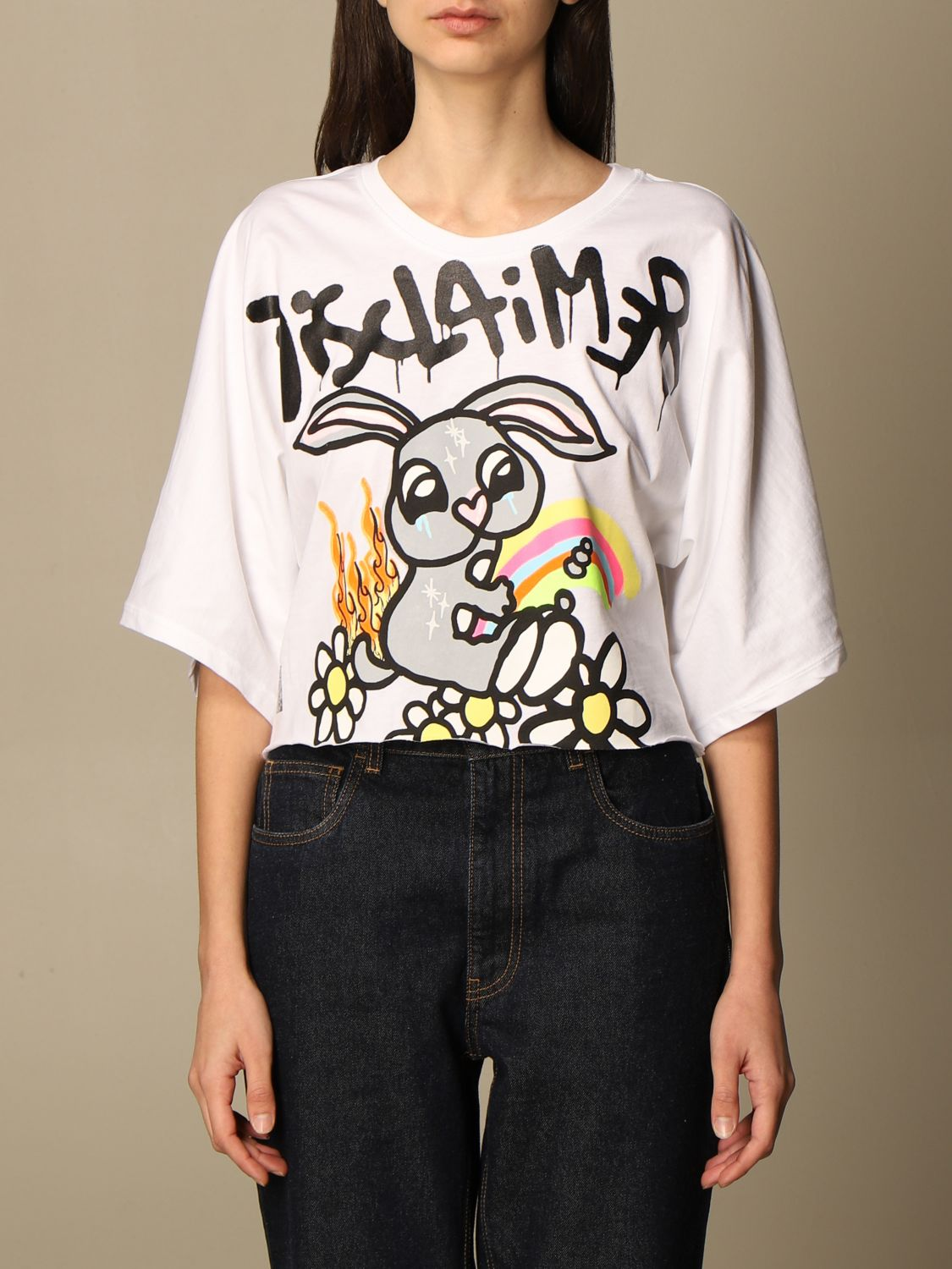 T-Shirt Disclaimer: Dislaimer cropped cotton sweater with print white 1