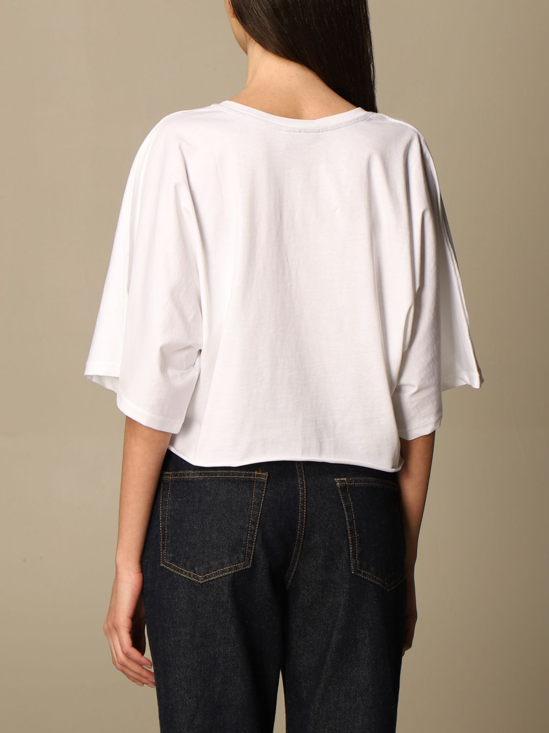 T-Shirt Disclaimer: Dislaimer cropped cotton sweater with print white 2