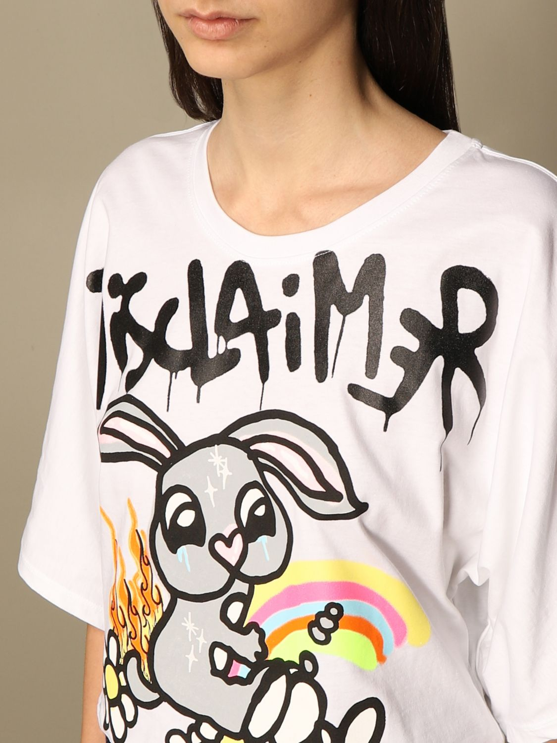 T-Shirt Disclaimer: Dislaimer cropped cotton sweater with print white 3