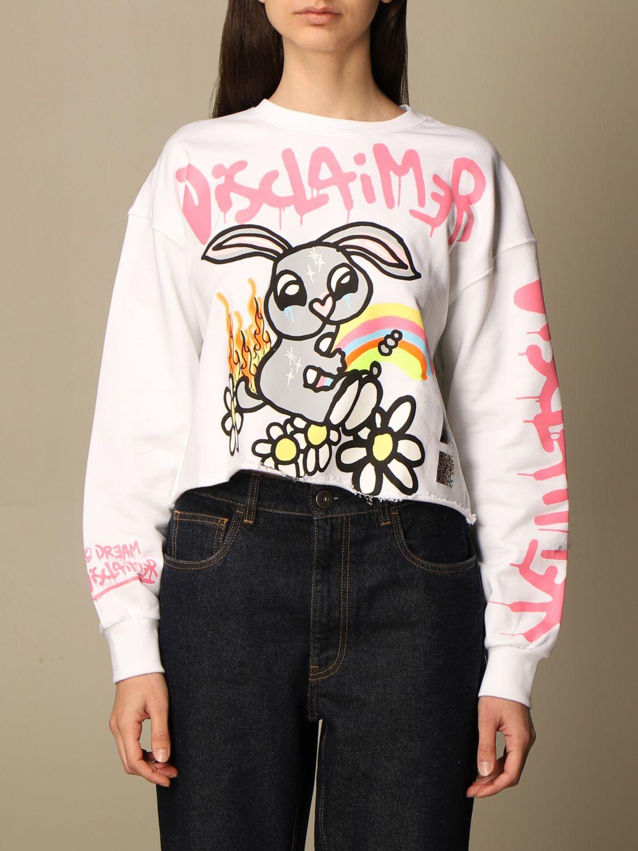 Sweatshirt Disclaimer: Dislaimer cropped cotton sweatshirt with big print white 1