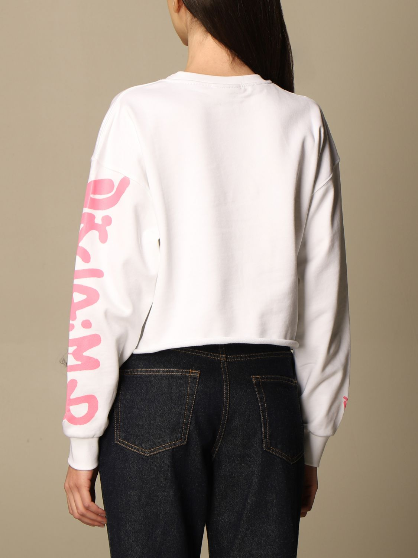 Sweatshirt Disclaimer: Dislaimer cropped cotton sweatshirt with big print white 2