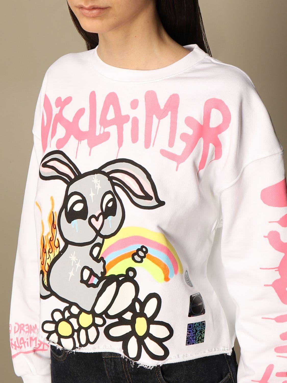Sweatshirt Disclaimer: Dislaimer cropped cotton sweatshirt with big print white 3