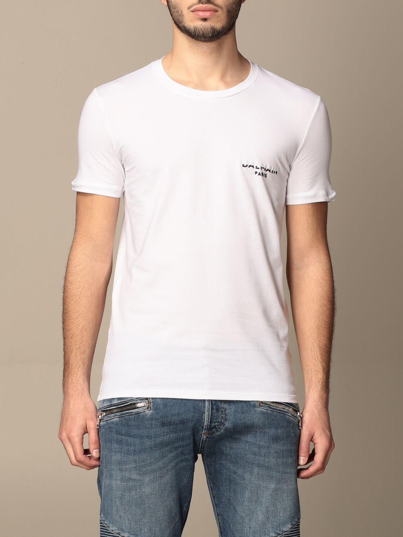 T-shirt Balmain: T-shirt Balmain in cotone con logo bianco 1