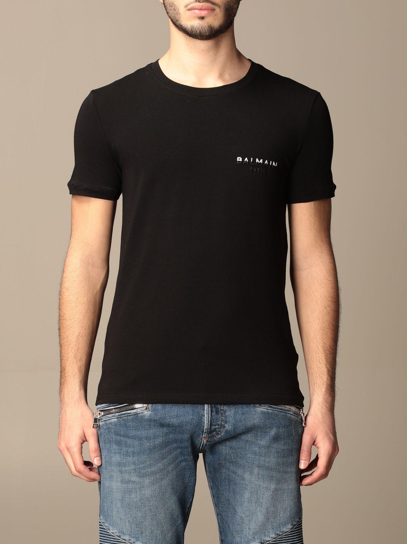T-shirt Balmain: Half sleeve crew neck with logo black 1