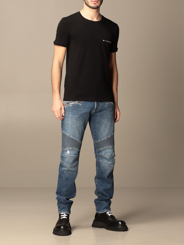 T-shirt Balmain: Half sleeve crew neck with logo black 2
