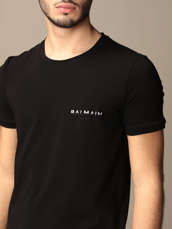T-shirt Balmain: Half sleeve crew neck with logo black 4