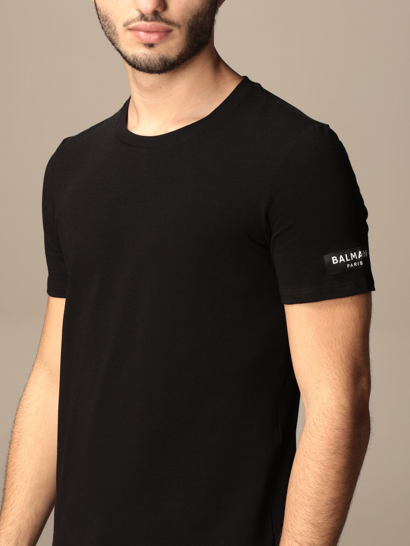 T-shirt Balmain: T-shirt Balmain in cotone con logo nero 4