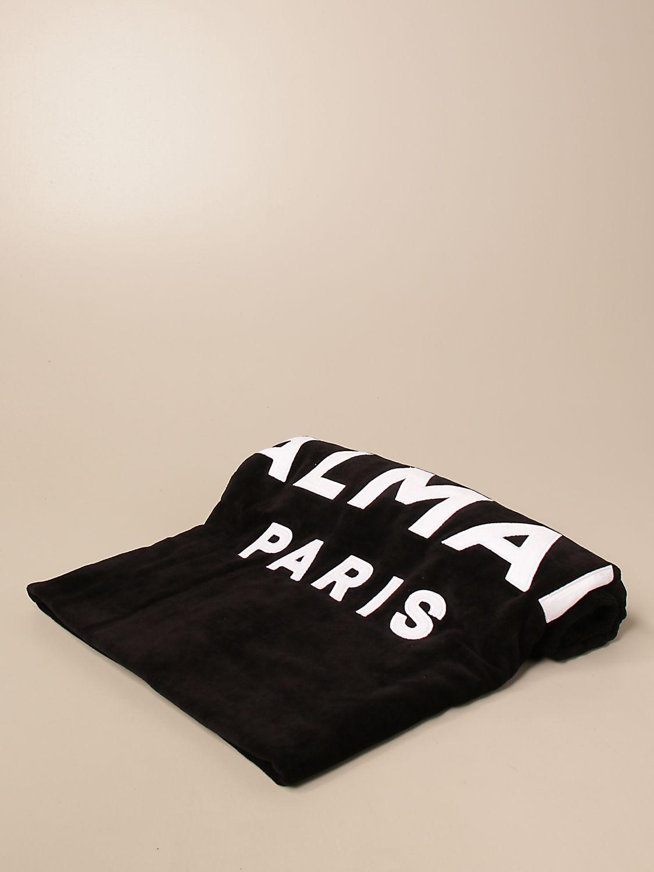 Beach towel Balmain: Balmain terry beach towel with logo black 1