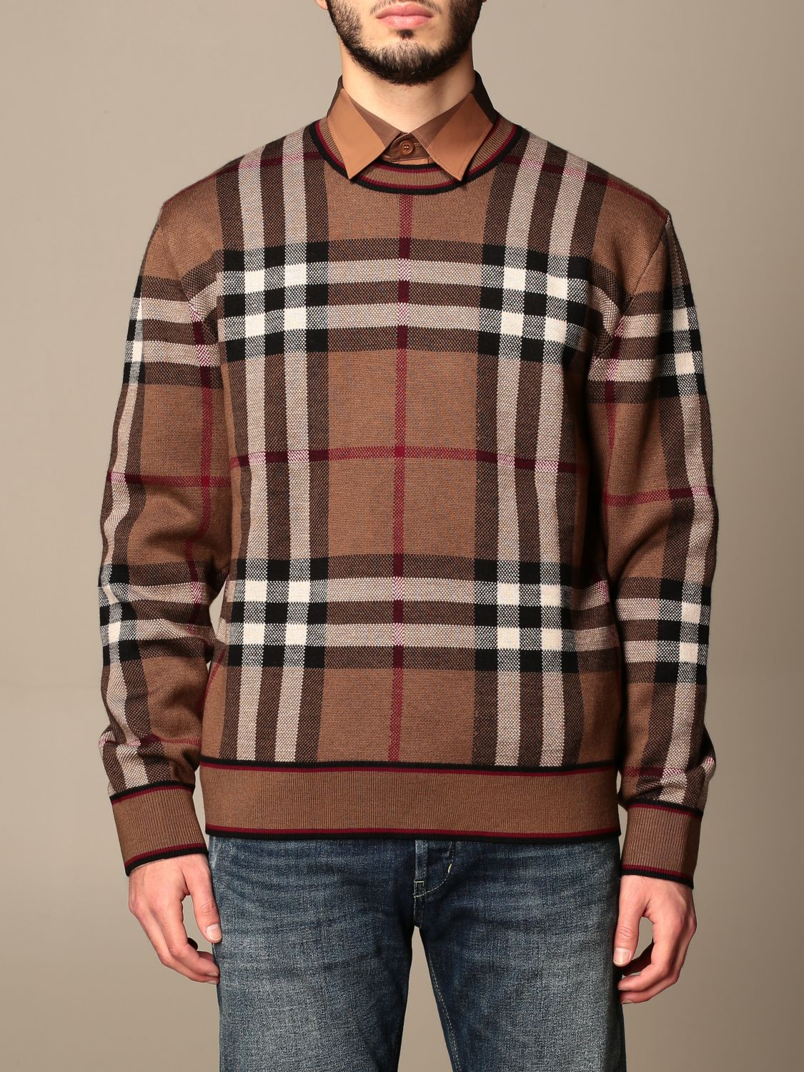 Jumper Burberry: Burberry pullover in Merino wool with tartan motif and jacquard pattern beige 1