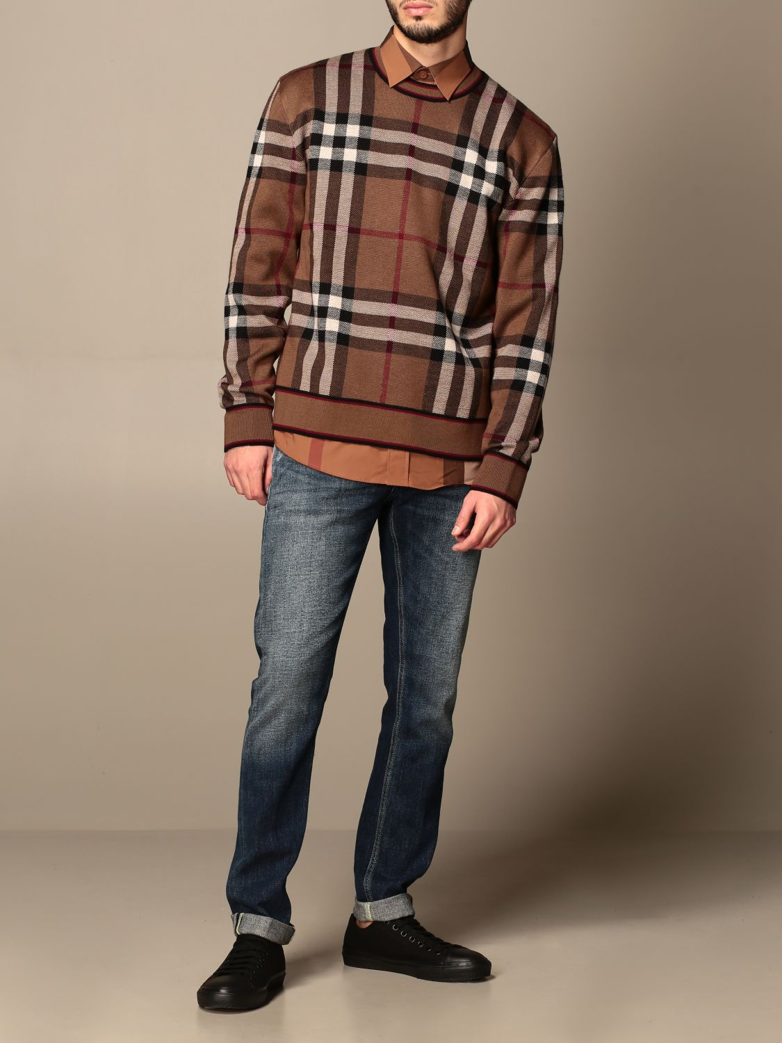 Jumper Burberry: Burberry pullover in Merino wool with tartan motif and jacquard pattern beige 2