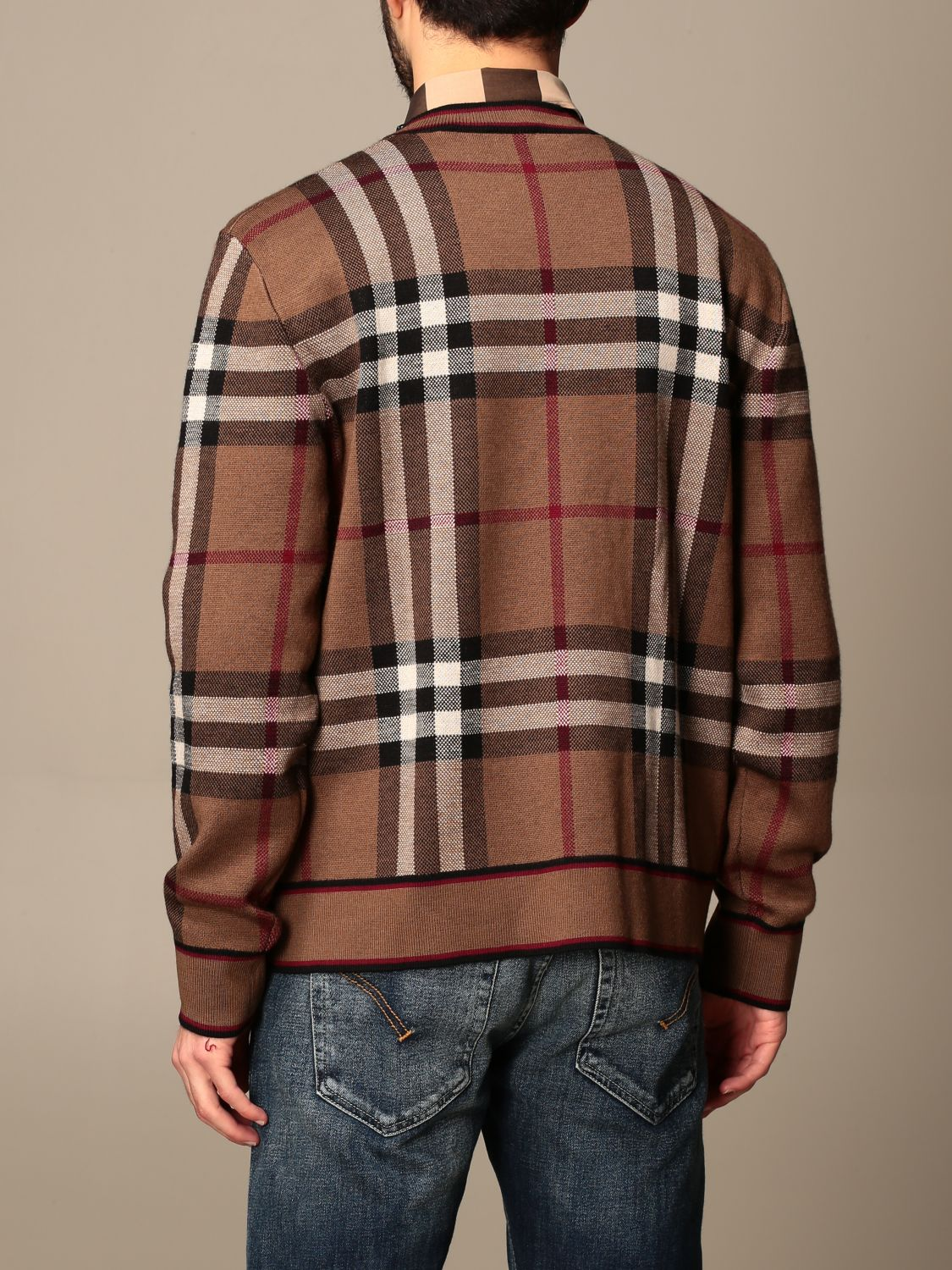 Jumper Burberry: Burberry pullover in Merino wool with tartan motif and jacquard pattern beige 3