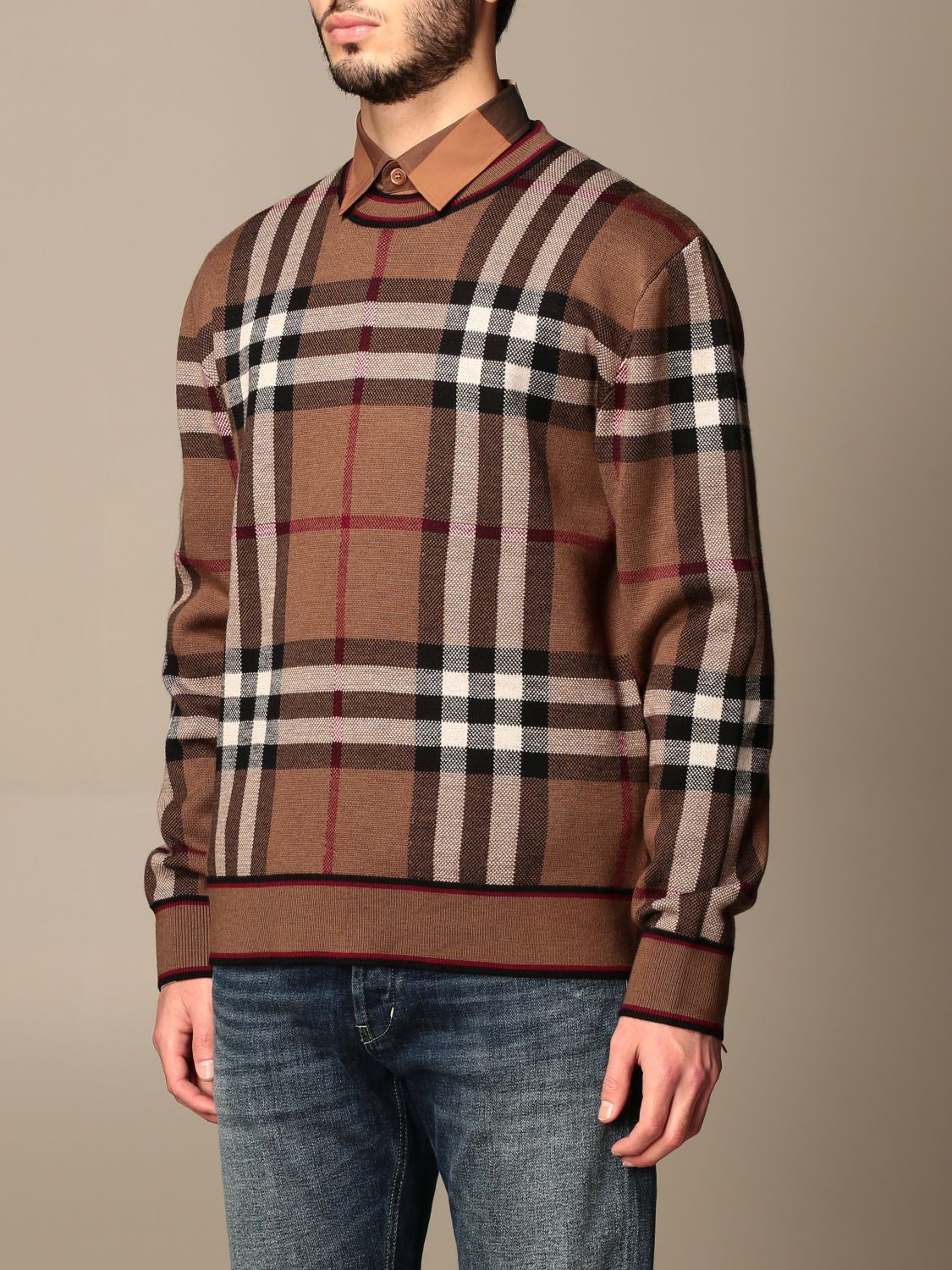 Jumper Burberry: Burberry pullover in Merino wool with tartan motif and jacquard pattern beige 4