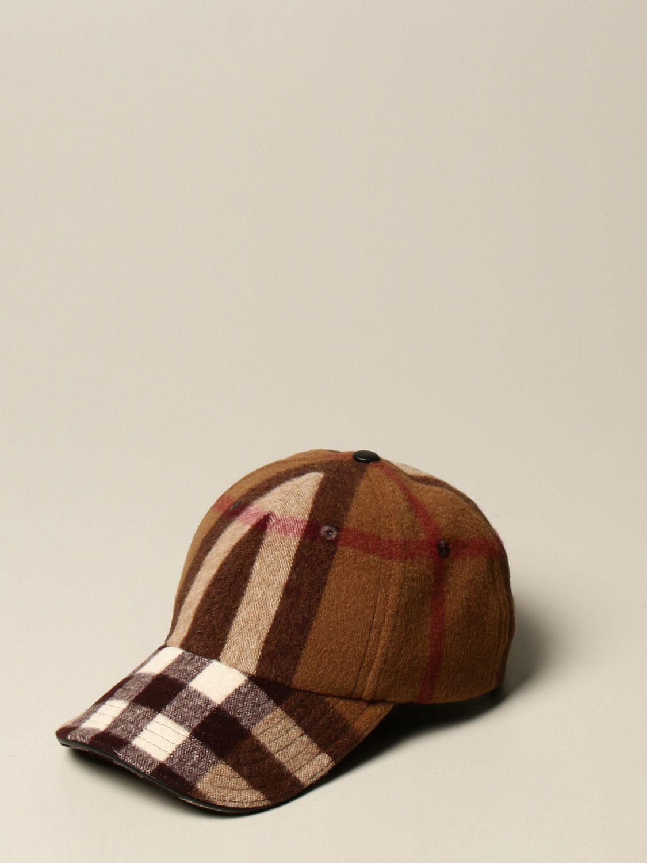 Cappello Burberry: Cappello da baseball Burberry in lana check marrone 1