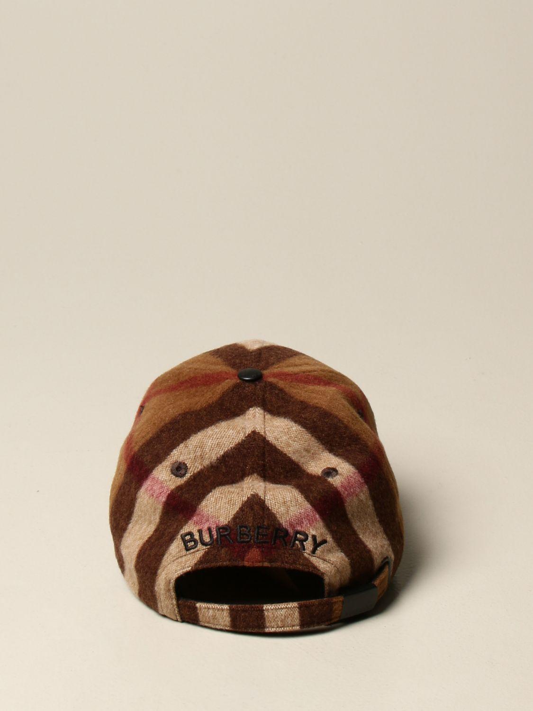 Cappello Burberry: Cappello da baseball Burberry in lana check marrone 3