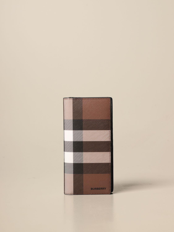 Portafoglio Burberry: Portafoglio Burberry in E-canvas check e pelle marrone 1