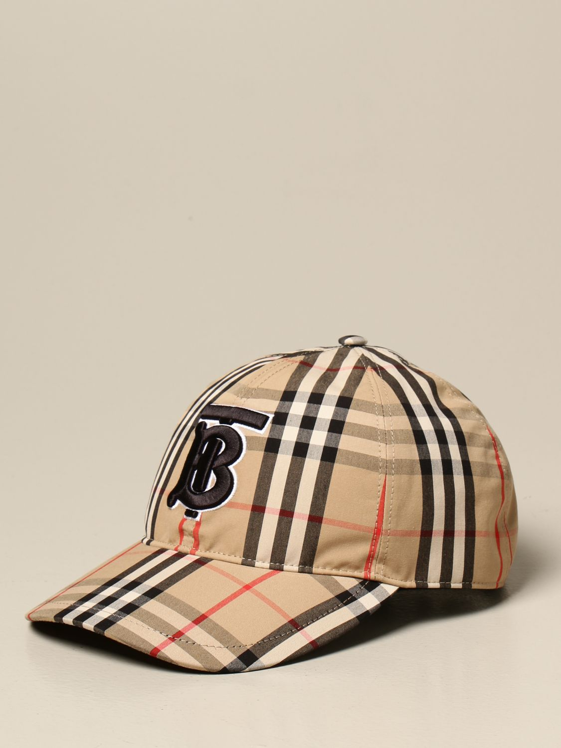 Hat Burberry: Burberry baseball cap in check cotton with monogram beige 1