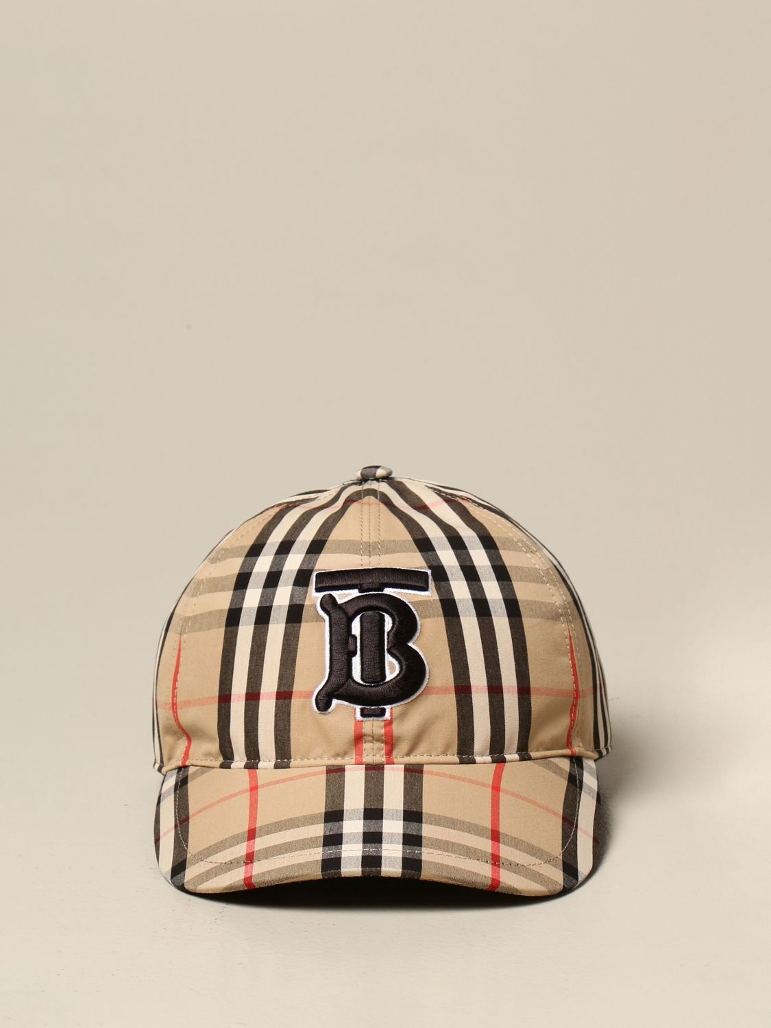 Hat Burberry: Burberry baseball cap in check cotton with monogram beige 2