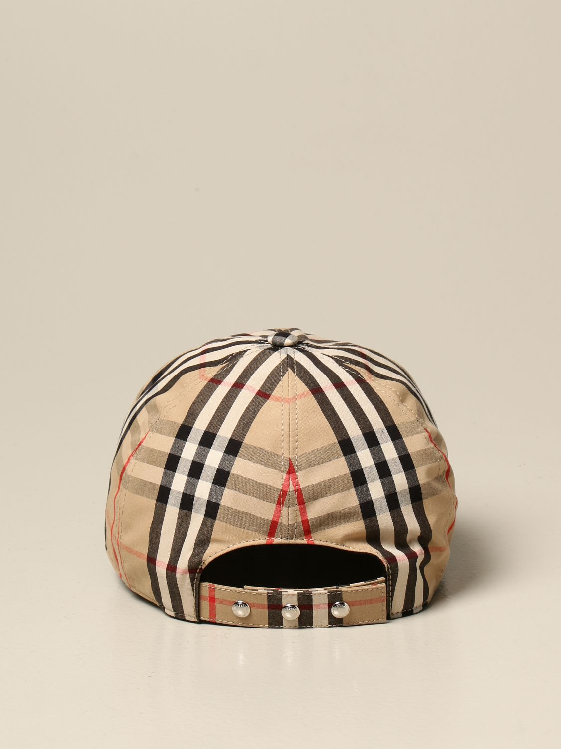 Hat Burberry: Burberry baseball cap in check cotton with monogram beige 3