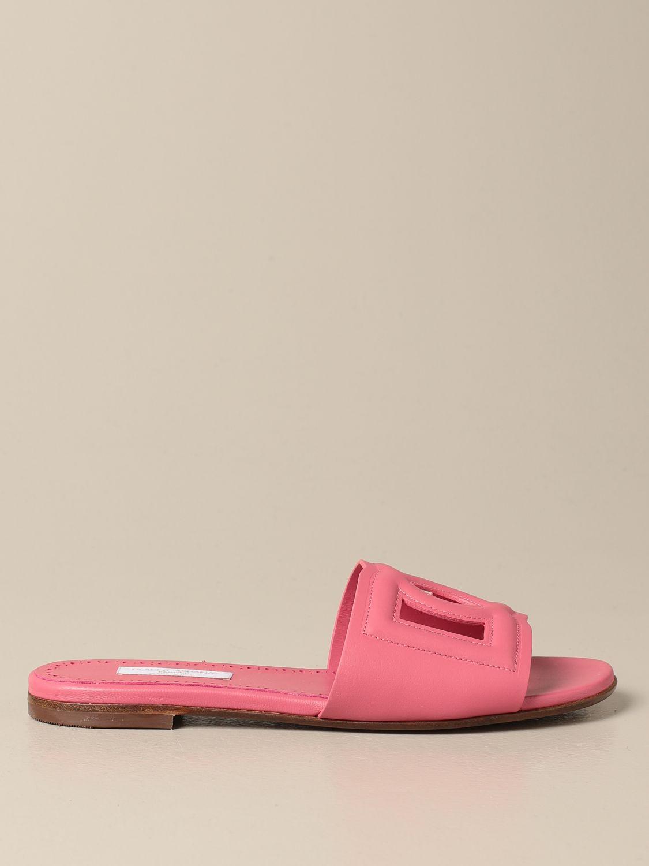 Shoes Dolce & Gabbana: Dolce & Gabbana slide sandal in leather fuchsia 1
