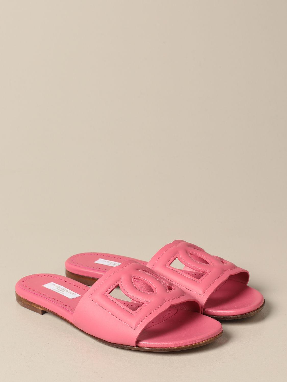 Shoes Dolce & Gabbana: Dolce & Gabbana slide sandal in leather fuchsia 2