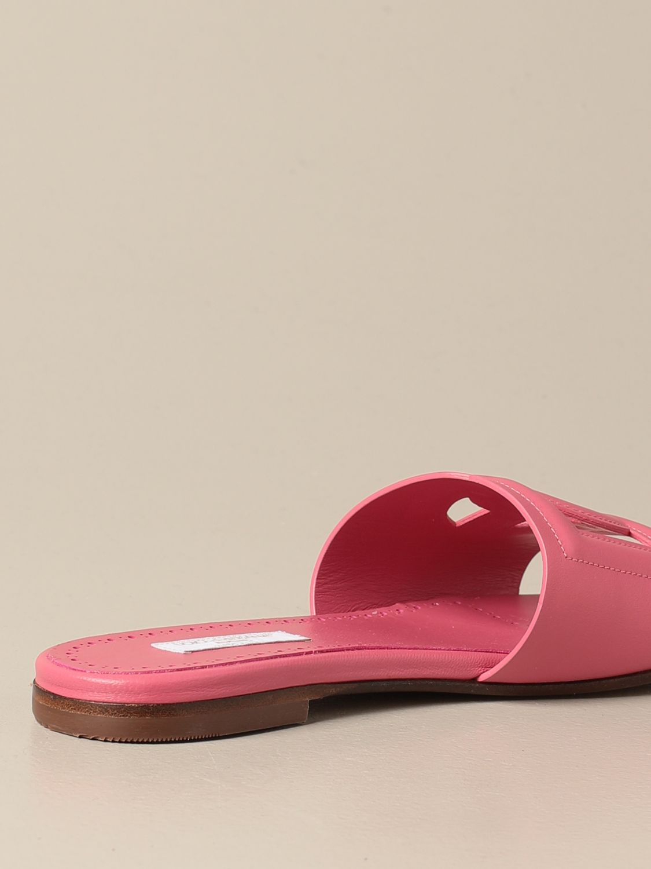 Shoes Dolce & Gabbana: Dolce & Gabbana slide sandal in leather fuchsia 3