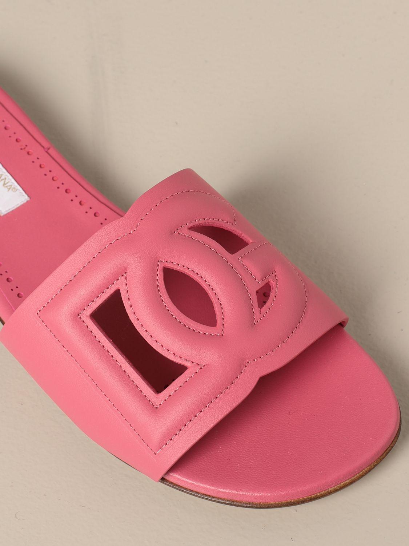Shoes Dolce & Gabbana: Dolce & Gabbana slide sandal in leather fuchsia 4
