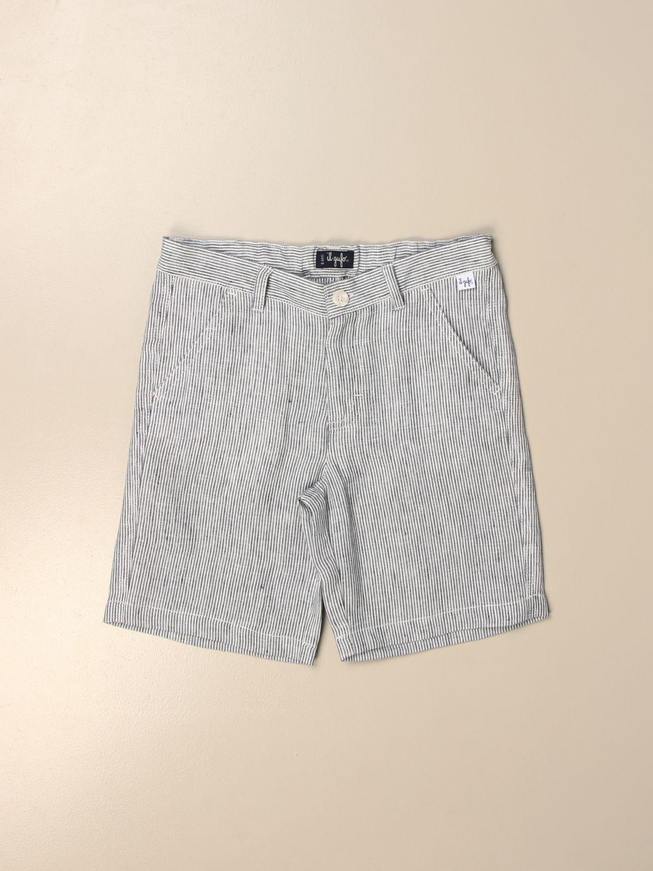 Pantaloncino Il Gufo: Bermuda Il Gufo di lino gessato azzurro 1