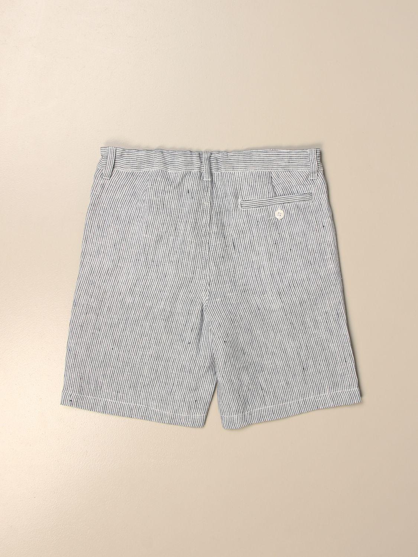 Pantaloncino Il Gufo: Bermuda Il Gufo di lino gessato azzurro 2