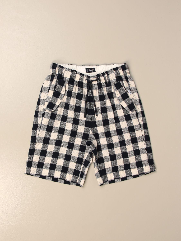 Pantaloncino Il Gufo: Bermuda jogging Il Gufo in misto cotone a quadri blue 1