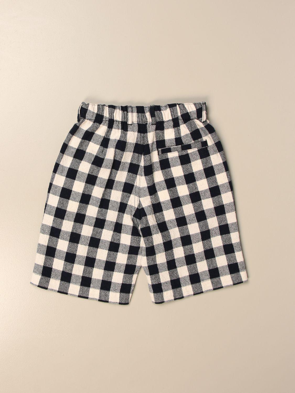 Pantaloncino Il Gufo: Bermuda jogging Il Gufo in misto cotone a quadri blue 2