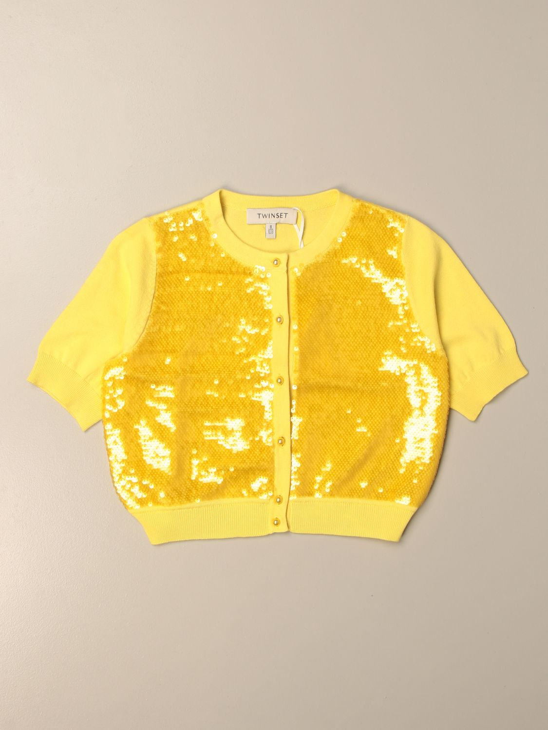Sweater Twin Set: Twin-set crewneck cardigan in cotton blend with sequins yellow 1