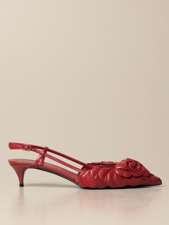 Scarpe con tacco Valentino Garavani: Slingback Atelier Shoes Rose Edition 03 Valentino Garavani in pelle rosso 1
