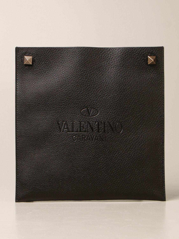 Borsa a tracolla Valentino Garavani: Borsa Valentino Garavani in pelle martellata nero 1