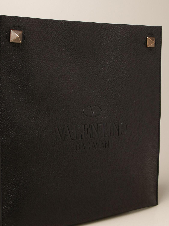 Borsa a tracolla Valentino Garavani: Borsa Valentino Garavani in pelle martellata nero 3