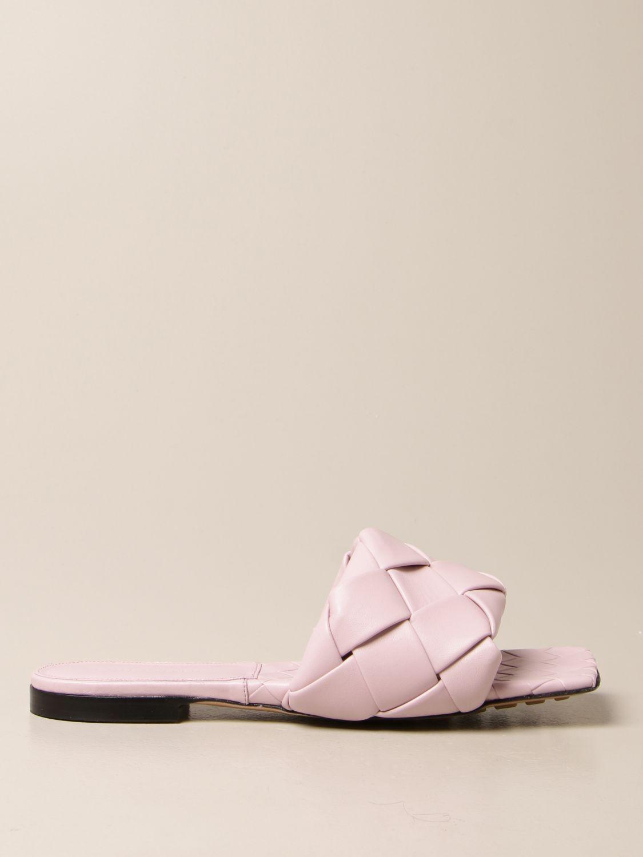 Босоножки без каблука Bottega Veneta: Обувь Женское Bottega Veneta сиреневый 1