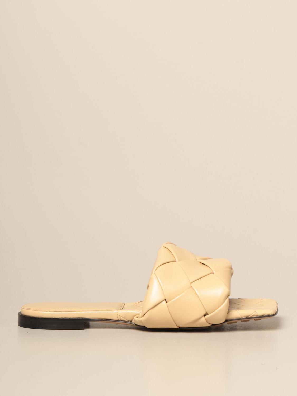 平跟凉鞋 Bottega Veneta: Bottega Veneta BV Lido 编织纳帕皮平底凉鞋 鸽子灰色 1